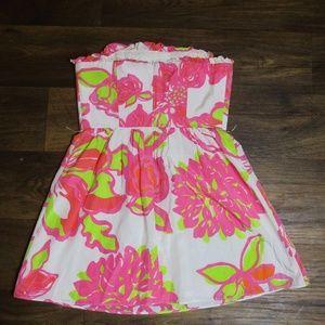 Lilly Pulitzer Pink White Green Flower Dress SZ 4